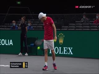 11月7日 2020巴黎网球大师赛 施瓦茨曼VS梅德韦杰夫 英语